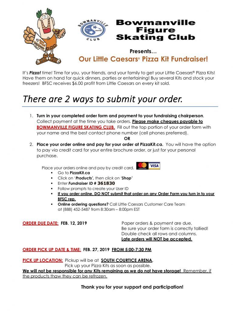 Little Caesars Pizza Kit Fundraiser Bowmanville Figure Skating Club